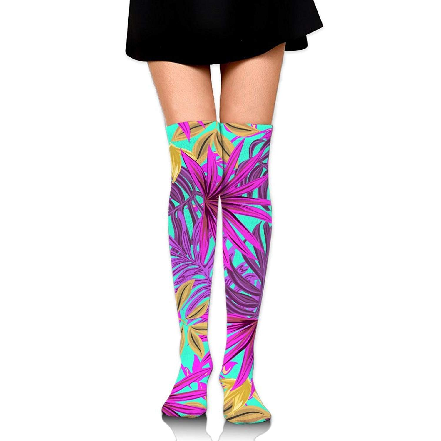 8fdb8684fff Get Quotations · Leaves Art Bright Pink Green Ankle Stockings Over The Knee  Sexy Womens Sports Athletic Soccer Socks