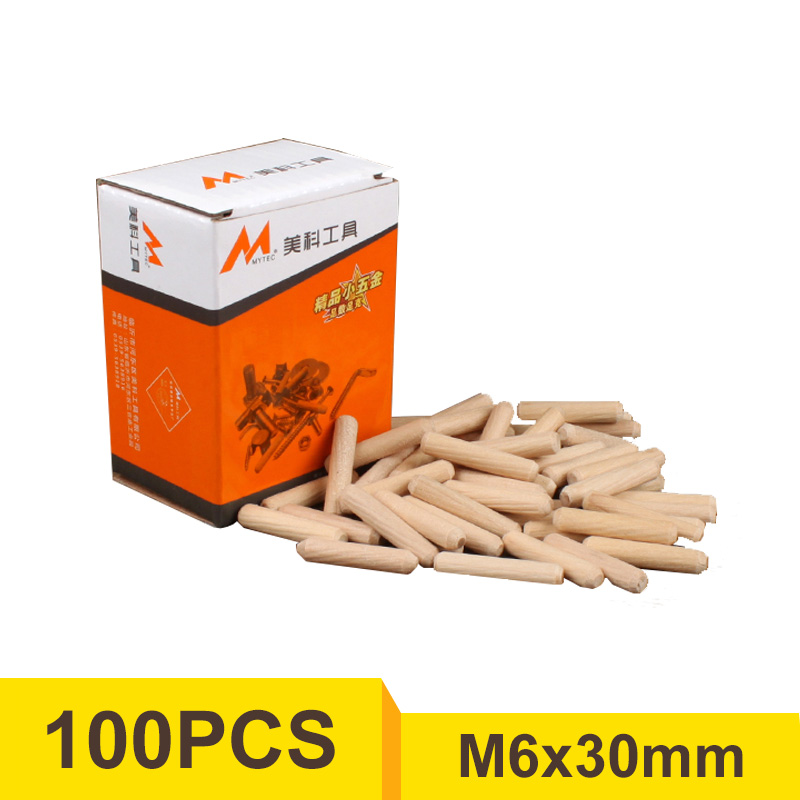 100pcs/box M6x30mm Wooden Dowel Pins Cabinet Drawer Round Fluted Craft Furniture Fitting
