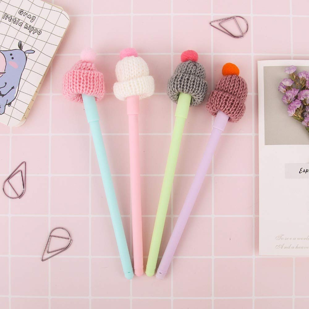 Gel Pen Rabbit Pens Colored 4 pcs Cute stocking hat with red bobble gel pen 0.5mm ballpoint Black color ink pen Office School supplies A6886