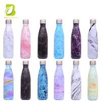 new style marble double wall water bottle for hot and cold water