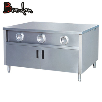 Fast Food Kitchen Center Island Stainless Steel Work Table With Cabinet Cup  Dispenser