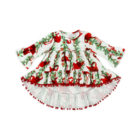 Hot Sale Baby Girl Pompom Princess Dress Printed High Low Top Middle Sleeve for Babies & Toddlers
