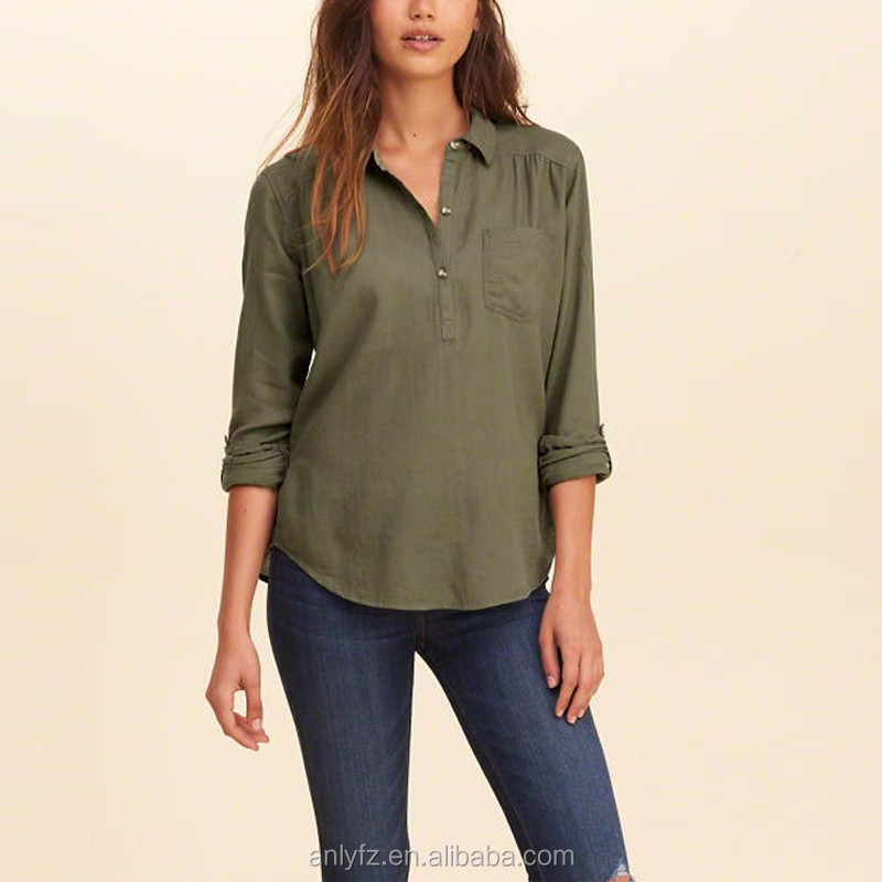 Hot sale OEM clothing new design casual ladies long sleeve popover shirt
