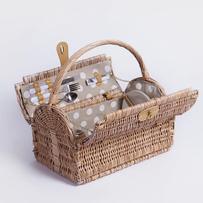 2 persons dim sum gift storage willow wicker picnic basket