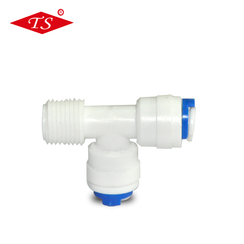 K7544 wit plastic quick Tee pijp connector fitting met 1/4 ''buis connector & 1/4'' buitendraad
