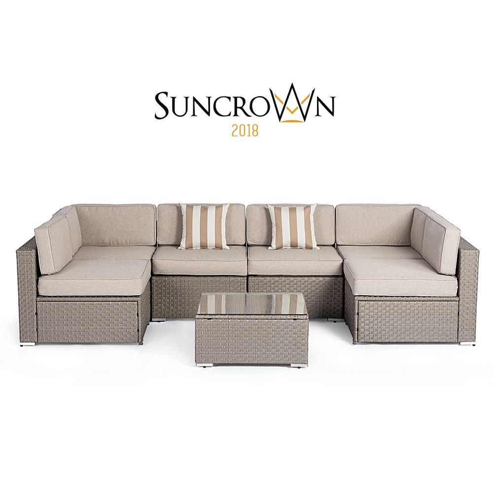 Suncrown Outdoor Modular Sectional Furniture Set (7-Piece) All-Weather Grey Wicker with Light Grey Zippered Cushions & Sophisticated Glass Coffee Table | Patio, Backyard, Pool