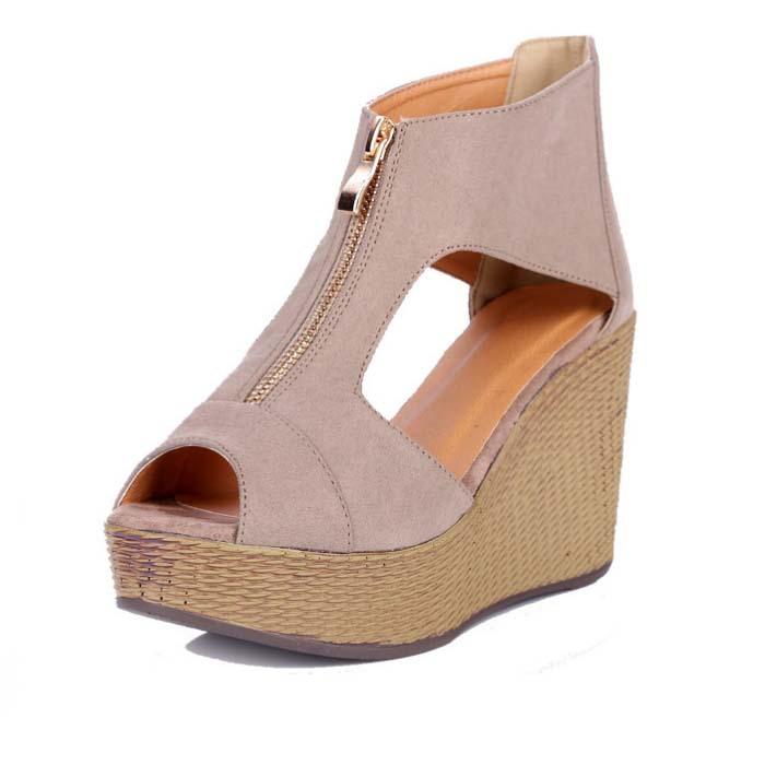 82ea0aedb35 Get Quotations · Wedge Sandals High Heel Casual Shoes Women Sandalias Ladies  Style Summer Platform Flip Flops Zip 2015
