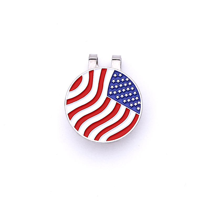 New design custom unique cheap silver enamel zinc alloy American flag clip pin