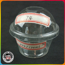 China 74mm Dome Lid 4oz 120ml Disposable Plastic PET Cup