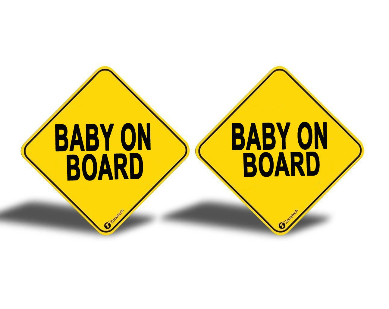 """Zone Tech """"Baby On Board"""" Vehicle Bumper Magnet - 2-Pack Premium Quality Convenient Reflective """"Baby On Board"""" Vehicle Safety Funny Sign Bumper Magnet"""
