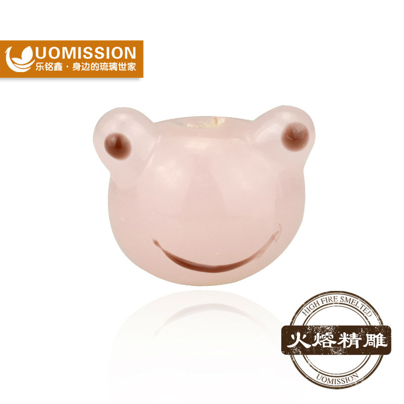 Luxury jewelry high quality wholesale pink Frog face lampwork glass beads for bracelets and necklaces