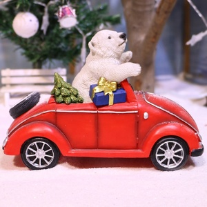 Wholesale resin polar bear sitting car xmas table ornaments merry christmas decoration gift