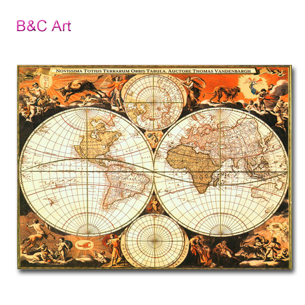 Old-fashioned Wall Decor Print World Globe Map For Wholesale - Buy ...