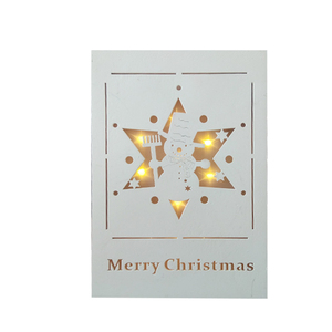 White Fashion Wooden Decorative MERRY CHRISTMAS Wall Plaque Art with Star LED Lights