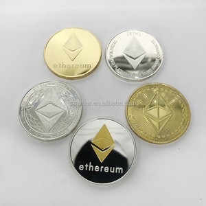 40x3mm custom design 3D metal engraved gold silver Classic ETH Ethereum coin for collectible