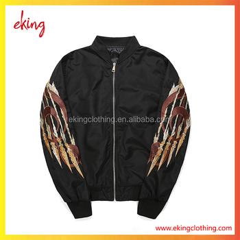 China wholesale custom winter embroidered bomber jacket men