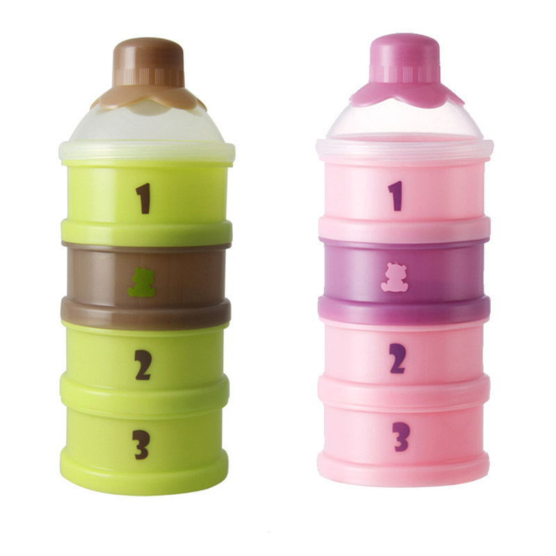 4 Layers Infant Baby Travel Food Storage Box Milk Powder Container Detachable Baby Nahrung Box Baby Stuff Pink Green