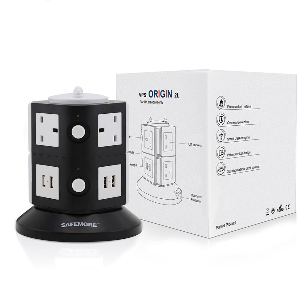 Safemore UK Outlets Extension Leads Surge Protectors 6 Way Outlet Sockets 4 USB Charging Ports Tower Power Strips 0907