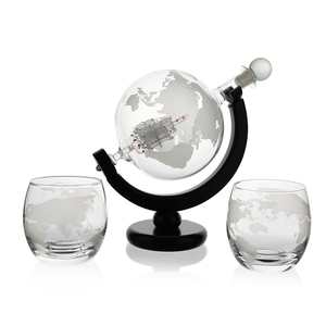 Crystal Whiskey Globe Decanter With Two Whiskey Glasses And Funnel