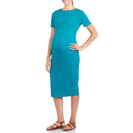 Organic Cotton Spandex Maternity Dress Short Sleeve Knee Length Dress for Mami