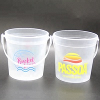 Multifunctional high quality 32oz cheap ice plastic bucket with handle