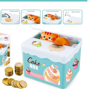 Big sale electric talking steal cat funny plastic money saving box with lock