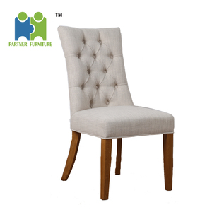 (MAGEE) American style Rubber wooden KD leg antique fabric dining chair