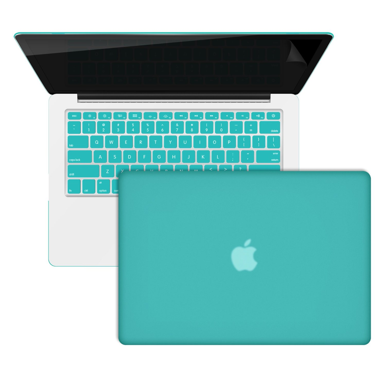 """RiverPanda - Rubberized Hard Case Cover With Keyboard Cover & Screen Protector For MacBook Pro 13"""" with Retina Display (A1502/ A1425) - Turquoise Blue"""