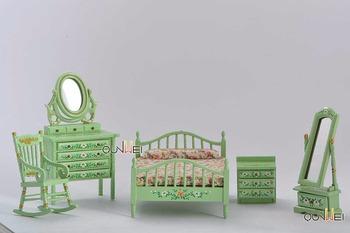 Dollhouse Bedroom Furniture Set 5pcs Bed Rocking Chair Dressing