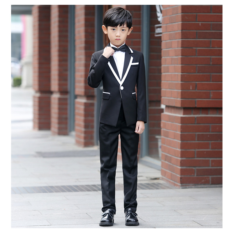 Korean Style Children Plaid Tuxedo Suits Boys Autumn Wedding Suits ...