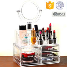 Acrylic storage box makeup cosmetic organizer lipstick holder with mirror