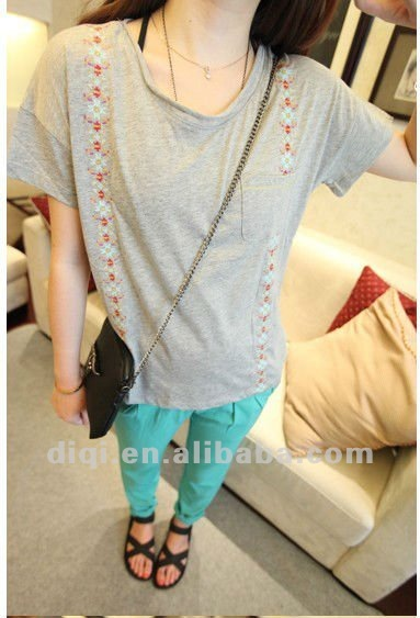 t shirt,t-shirts,2012 new fashionable style cotton short sleeve ladies' t-shirt