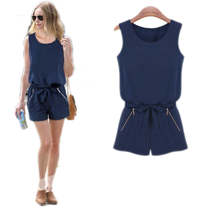6cd082b99dd6 Buy Summer Style elegant overalls shorts women rompers womens jumpsuit  Sleeveless Bowknot Casual Plus Size Sexy One Piece Outfits in Cheap Price  on ...