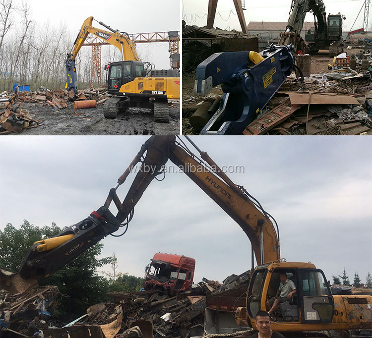 Mobile scrap metal producer Beiyi provide BYCS350RT hydraulic scrap metal shear for sale