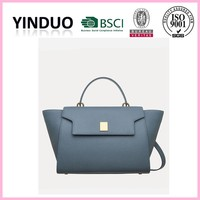 Latest trend ladies real brown saffiano leather shopping tote bag handbag manufacturers from OEM china leather handbag factory