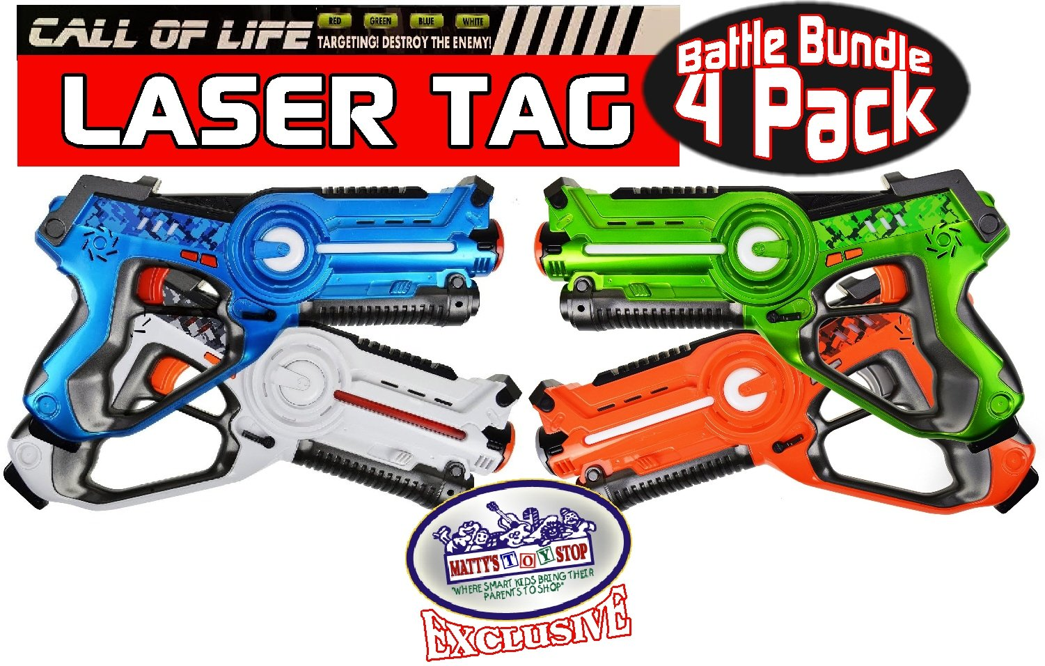 """Matty's Toy Stop """"Call of Life"""" Laser Tag Blasters for Kids Red, Green, Blue & White Gift Set Battle Bundle - 4 Pack"""