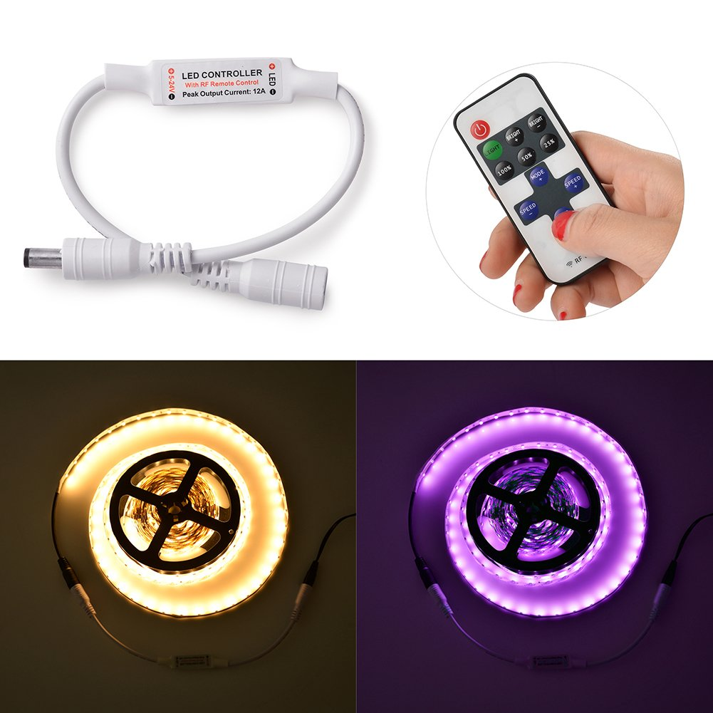 Ledgle RF LED Controller Wireless Remote Controller 11 Key Mini Dimmer(DC12-24V, 12A(Max), 49.2-65.6ft Control Distance) for Single Color 3528 5050 LED Strip Lights