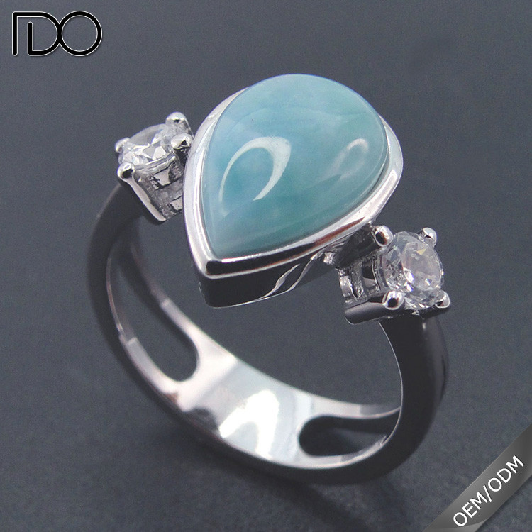 Stylish Sterling Silver Ring with Larimar Size 5 to 11