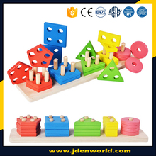 Colorful different shapes geometry attractive childrens wooden toy