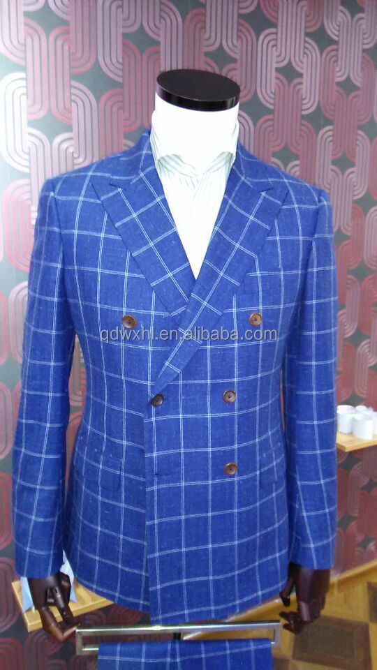 Blue Double-breasted Plaid Suit Made To Meature Mens Italian Suit ...