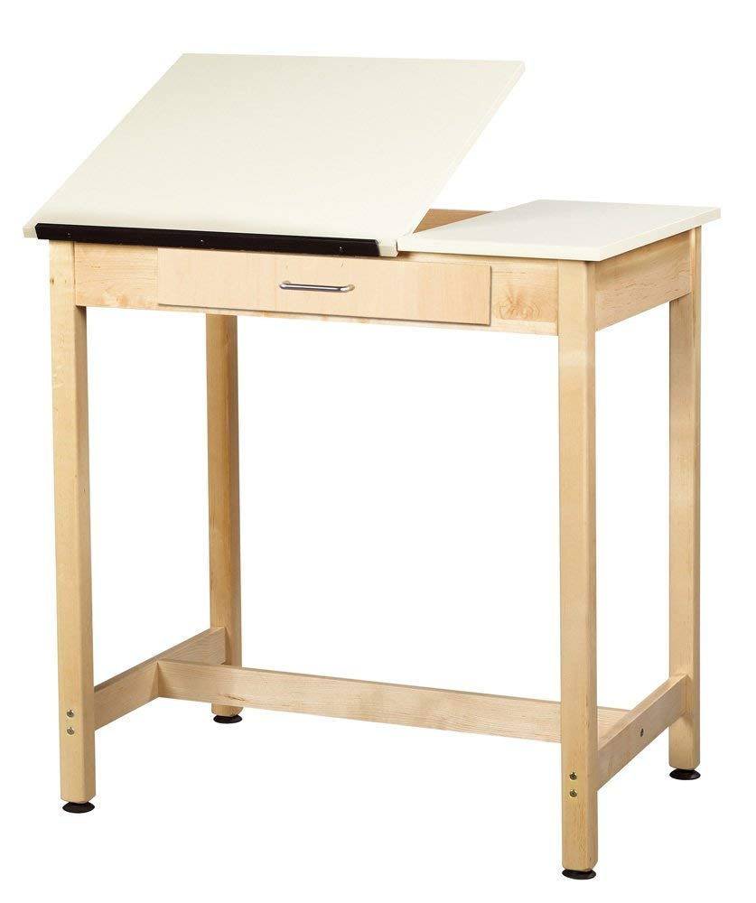 """Diversified Woodcrafts DT-1SA37 UV Finish Solid Maple Wood Art/Drafting Table with 2 Piece Top and Center Drawer, Plastic Laminate Top, 36"""" Width x 36"""" Height x 24"""" Depth"""
