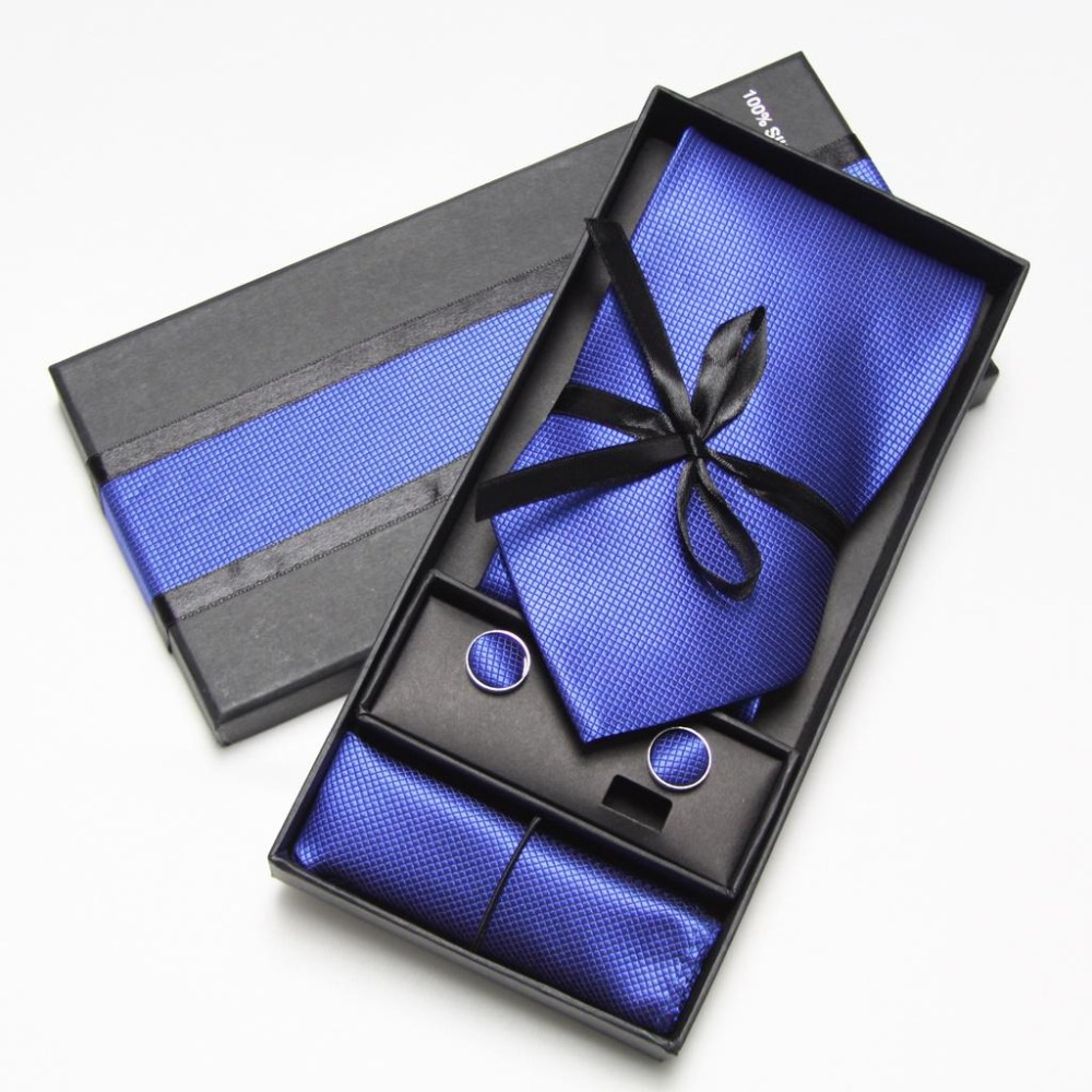 Cufflinks Hanky Pocket Square In Box Men's Tie Set - Buy Tie Set ...