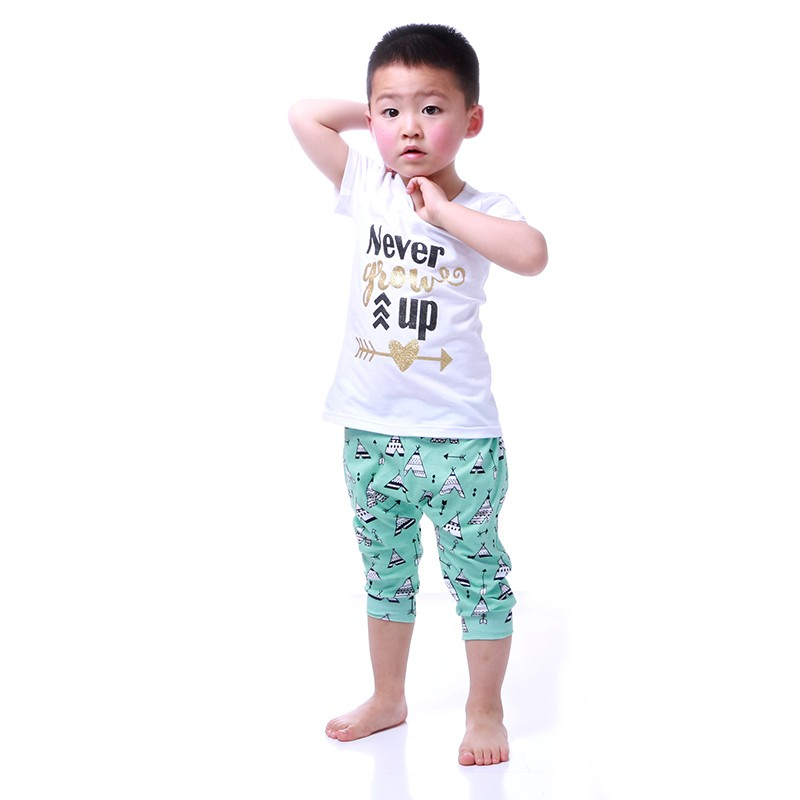 Howell summer boy outfit white t shirt and tent harem pant boy clothing sets