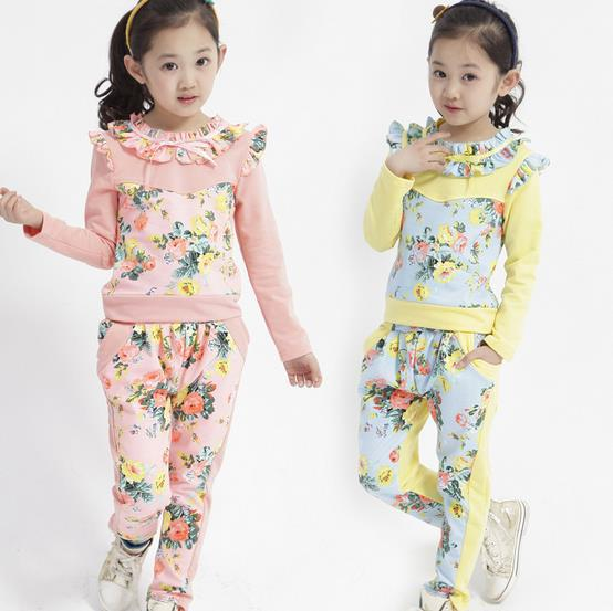 High Quality Fashion Spring Autumn Long Sleeve Cotton Floral Kids Girls Outwear Clothing Set Outdoor Suit