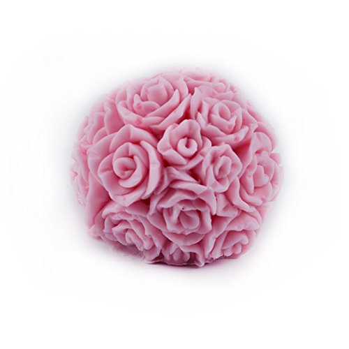 Nicole H0197 Flexible 3D Rose Flower Ball Shaped Silicone Mold Clay Crafts Decorative Soap Candle Molds