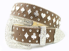 Woman Waist Leather Rhinestone Sash Belt
