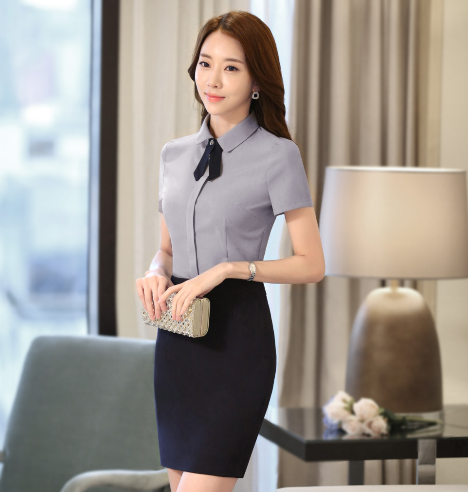 Groothandel Moderne Ober Shirts Uniformen Hotel Hostess Uniform Voor Receptioniste