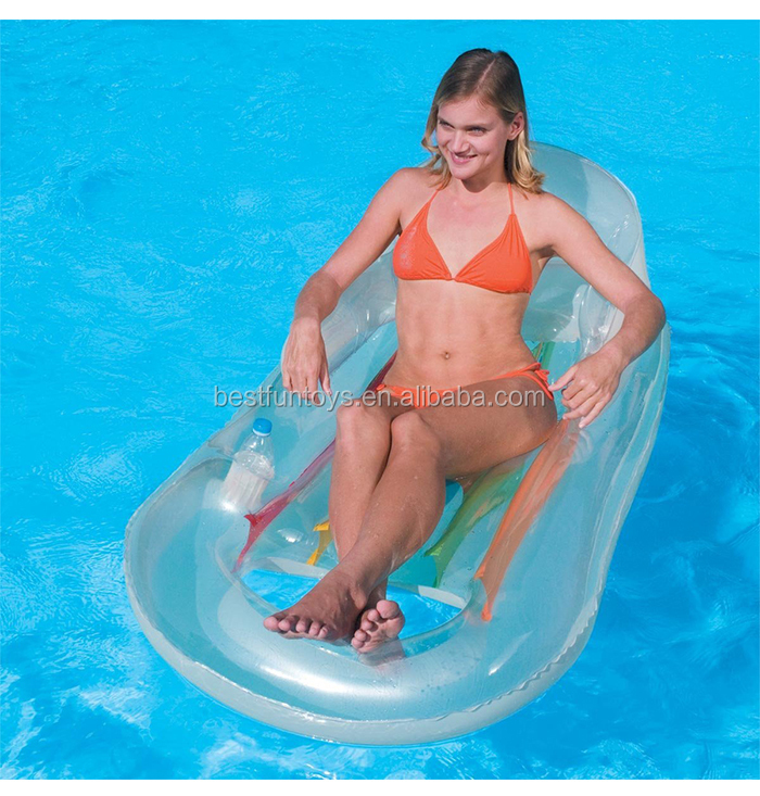 Transpa Inflatable Pool Chair Plastic Swimming Beach Lounge Chairs