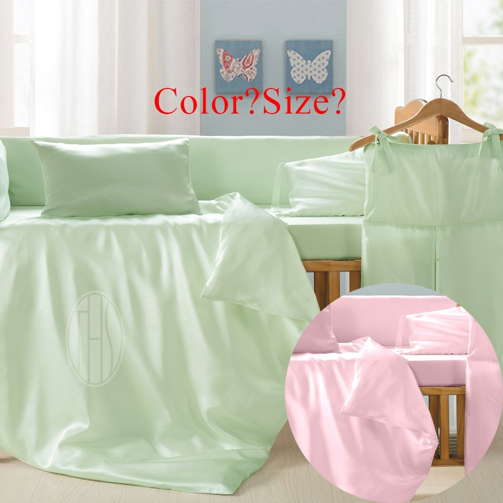 THXSILK 100% Mulberry Silk Duvet Cover or Pillowcase for Baby Crib Nursery Toddler Bed, Pink or Green Available, Customized Size