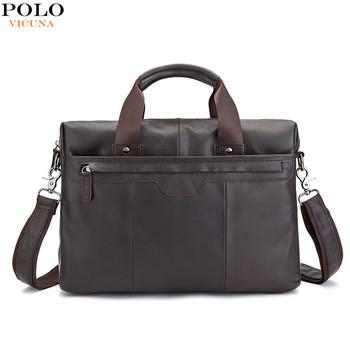 5127f2c9948 VICUNA POLO Hot Products Retro Briefcase Fashion Popular Men's Handbag  Shoulder Bag Laptop Genuine Leather Computer
